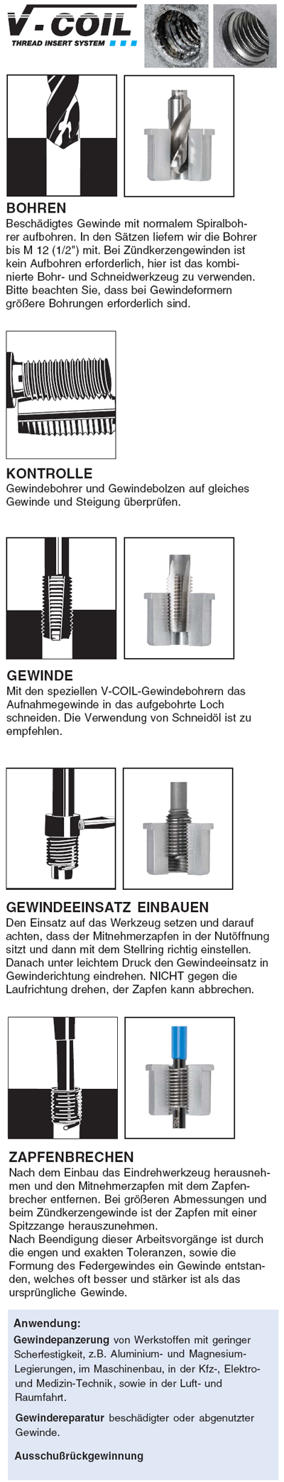 Satz M6 x 1,0-1D V-Coil Reparatur Völkel Gewinde