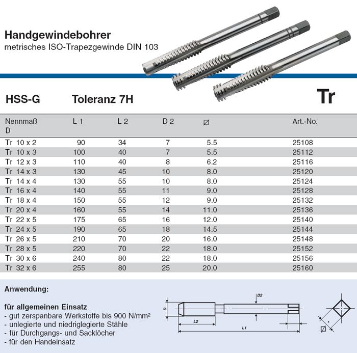 V lkel handgewindebohrer tr 10 32 hss g toleranz 7h for Din 6812 tabelle 18
