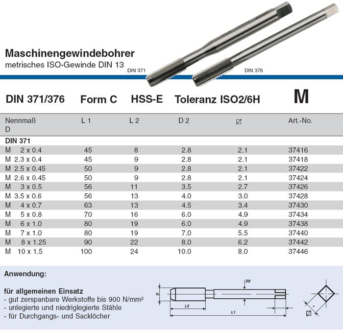 JIS B-4430 VÖLKEL Maschinengewindebohrer Form B UNF NO.5 HSS-E