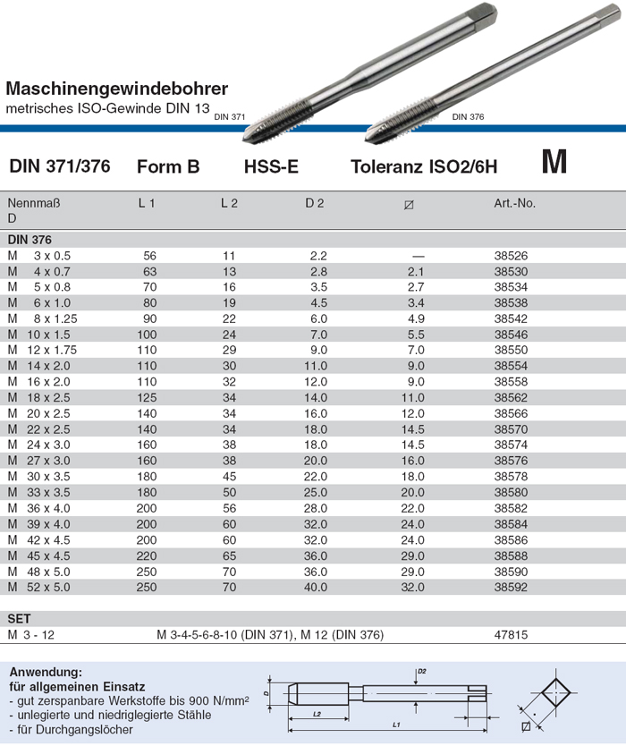 HSS-E M 52 Form C VÖLKEL M 3 DIN 376 Maschinengewindebohrer