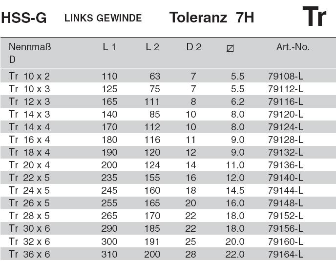 V lkel maschinen muttergewindebohrer tr10 tr36 iso for Din 6812 tabelle 18