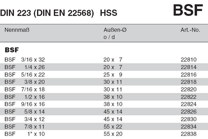 22818 Fili/ères rondes DIN 223 DIN EN 22568 BSF 3//8 x 20 V/ölkel HSS-G